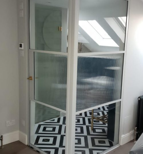 Original Steel Door Screen with Reeded glass Design Plus 01
